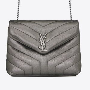 YSL SMALL GUNMETAL LOULOU MONOGRAM CHAIN BAG